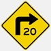 Right Turn Symbol Warning Sign with Speed W1-1R 30""