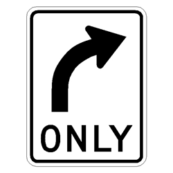 Right Only Sign R3-5R   Right-Only-Sign,R3-5R,Right-turn-only-Regulatory-sign ,R3-5R-traffic-sign ,movement-sign ,direction-sign ,D.O.T.-sign ,highway-sign ,reflective-traffic-sign