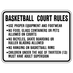 Basketball Court Rules Signs heavy aluminum