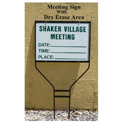 Meeting Sign with Dry Erase DAY TIME PLACE
