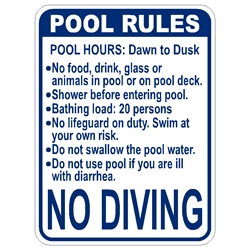 Florida Standard Pool Rules Sign