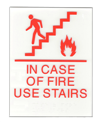 In Case of fire use stairs sign