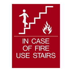 In case of fire use stairs -ADA Red sign white copy