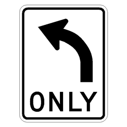 Left Only symbol traffic sign R3-5L