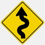 Left Winding Road Traffic sign W1-5L  30""