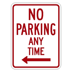 No Parking Any time Sign w/ Left ARROW R7-1L