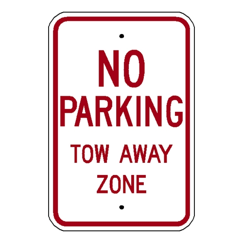 No Parking Tow Away Zone  12x18 .080 EG reflective Aluminum Sign