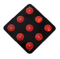 OM4-2 -18BR -  9-button Red - on Black Object Marker,  Road Hazard Marker