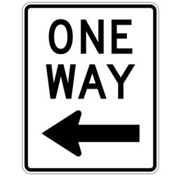 One way left arrow-aluminum traffic sign