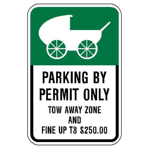 Permit Parking Sign for persons with strollers.