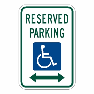 RESERVED DISABLED PARKING SIGN WITH ARROWS