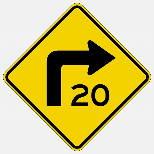 "Right Turn Arrow Sign W1-1aR 30"" with Speed"
