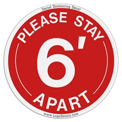 "Social Distancing Decal ""Please Stay 6 Apart"" Floor Decal / Sticker corona virus decals, covid-19, social distancing, virus, please stay 6 foot apart, floor sticker,"