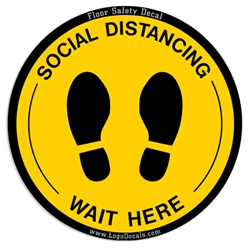"Social Distancing Decal ""Wait Here"" Floor Decal / Sticker - Yellow corona virus decals, covid-19, virus, wait here, floor sticker, social distancing"