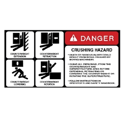 Danger Crushing Hazard Equipment Decal .