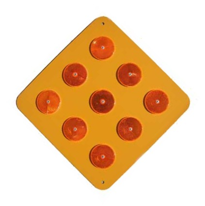 OM1-1 Yellow Object Marker-  9-button Hazard Marker  Enamel Background 18""