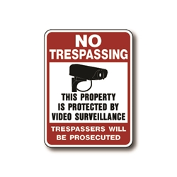 NTVS No Trespassing This Property Is Protected By Video Surveillance Trespassers Will Be Prosecuted  with Camera Graphic Red