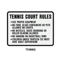 "Tennis Court Rules.... 24""x18"" (up to 5 lines of copy) TCR-24"